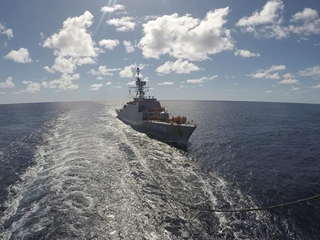 In this photo released Thursday, June 10, 2021, by the Iranian army, an Iranian warship moves in the Atlantic Ocean. Iran has dispatched two warships to the Atlantic Ocean, a rare mission to demonstrate the country's maritime power, state TV reported Thursday, without specifying the vessels' final destination. (Iranian Army via AP)