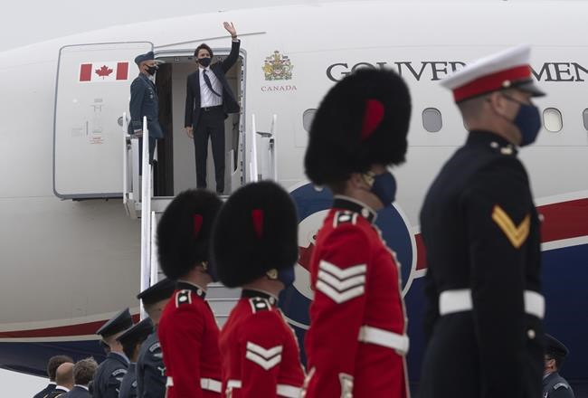 Prime Minister Justin Trudeau arrives at the airport in Newquay, United Kingdom for the G7 Summit, Thursday June 10, 2021. Trudeau will participate in the G7 Summit in the United Kingdom and a NATO meeting in Belgium. THE CANADIAN PRESS/Adrian Wyld
