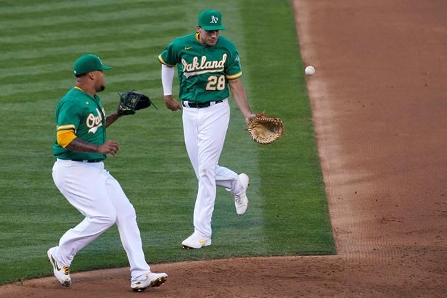 Oakland Athletics first baseman Matt Olson (28) flips the ball to pitcher Frankie Montas on a ground out hit into by Kansas City Royals' Nicky Lopez during the third inning of a baseball game in Oakland, Calif., Thursday, June 10, 2021. (AP Photo/Jeff Chiu)