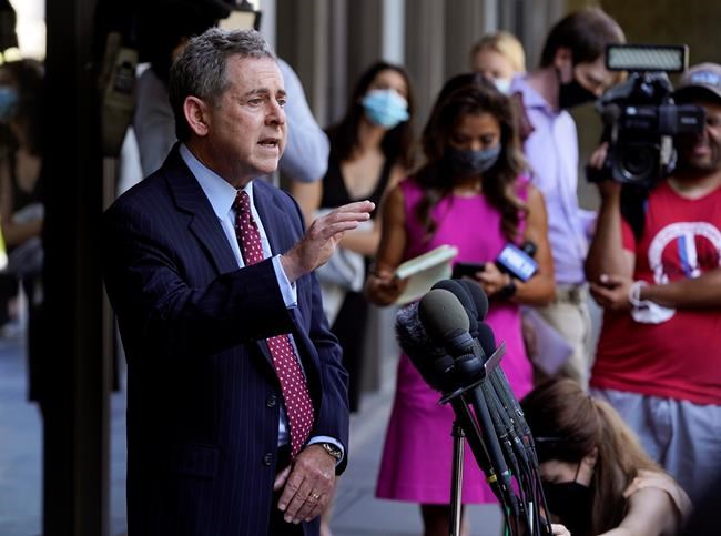 Harvey Weinstein's attorney Mark Werksman speaks to reporters following an arraignment for the convicted rapist and former movie mogul on additional sexual assault charges in California, at the Clara Shortridge Foltz Criminal Justice Center, Wednesday, July 21, 2021, in Los Angeles. (AP Photo/Chris Pizzello)