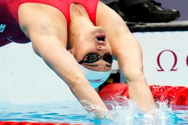Canada's Kylie Masse captured silver in the women's 100m backstroke final during the Tokyo Summer Olympic Games, in Tokyo, Tuesday, July 27, 2021. THE CANADIAN PRESS/Frank Gunn