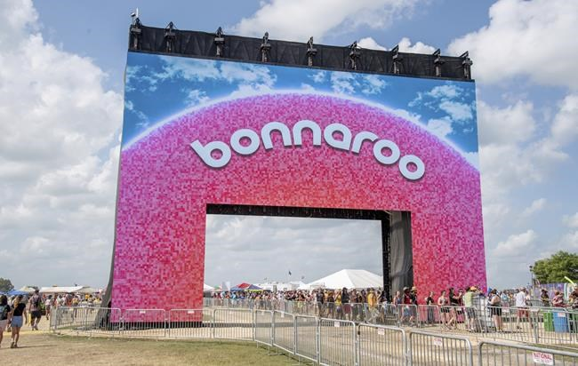 FILE - Bonnaroo's new arch appears at the Bonnaroo Music and Arts Festival on June 16, 2019 in Manchester, Tenn.  Heavy rains from Hurricane Ida forced Bonnaroo to cancel as the organizer said the soggy festival grounds were unsafe for driving or camping.  On social media, the festival said on Tuesday, August 31, 2021 that huge rainfall over the past 24 hours, the remnants of Ida's powerful winds and rain, saturated the trails and camping areas.  (Photo by Amy Harris / Invision / AP, file)