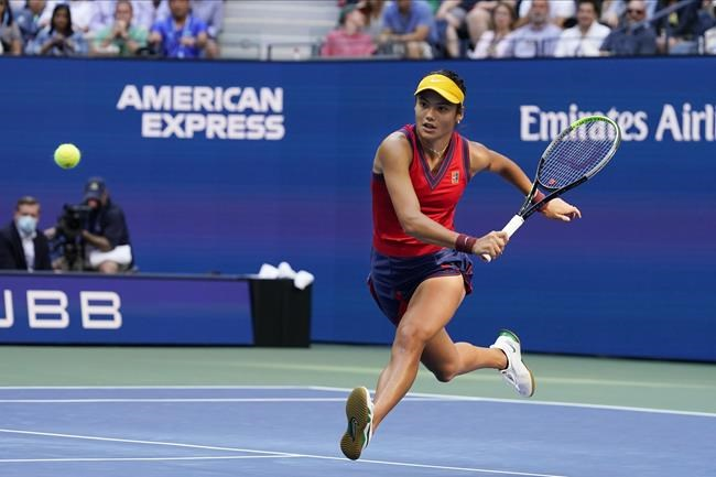 Emma Raducanu, of Britain, chases down a shot from Leylah Fernandez, of Canada, during the women's singles final of the US Open tennis championships, Saturday, Sept. 11, 2021, in New York. (AP Photo/Elise Amendola)