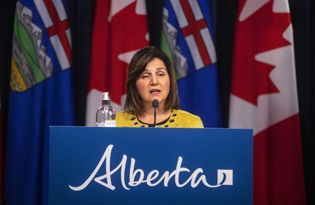 Alberta Education Minister Adriana LaGrange provides an update on COVID-19 and back-to-school guidance in Edmonton on Aug. 13, 2021. THE CANADIAN PRESS/Jason Franson