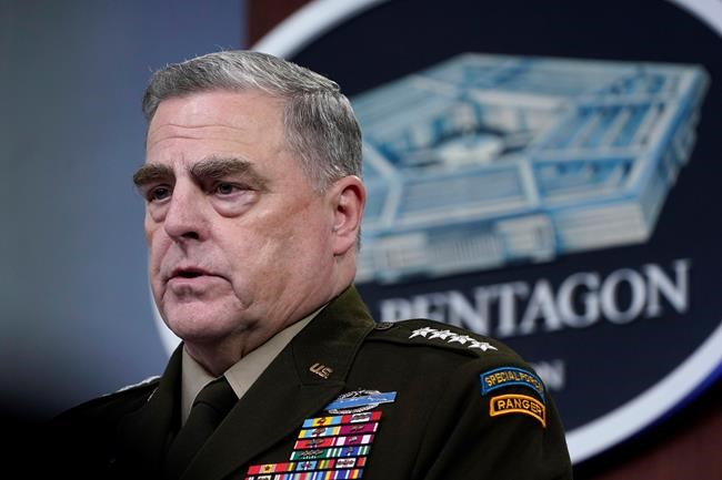 FILE - In this May 6, 2021 file photo, Chairman of the Joint Chiefs of Staff Gen. Mark Milley speaks during a briefing at the Pentagon in Washington. (AP Photo/Susan Walsh)