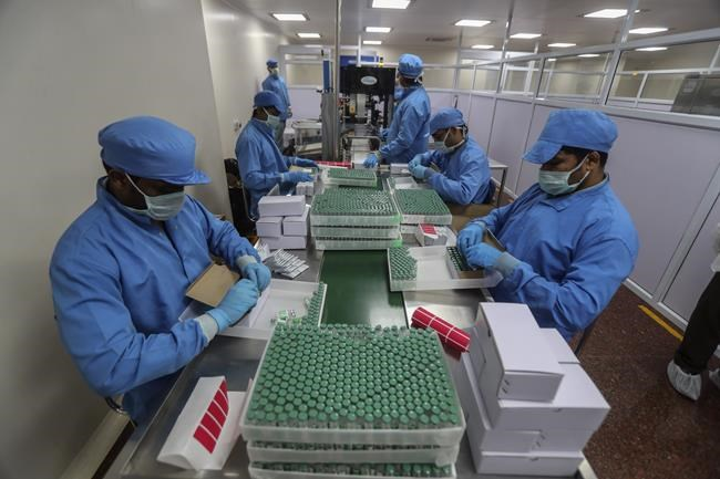 FILE- In this Jan. 21, 2021, file photo, employees pack boxes containing vials of Covishield, a version of the AstraZeneca vaccine at the Serum Institute of India in Pune, India. India, the world's largest vaccine producer, says it will resume exports and donations of surplus coronavirus vaccines in October after halting them during a devastating surge in domestic infections in April. (AP Photo/Rafiq Maqbool, File)