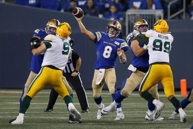 Winnipeg Blue Bombers quarterback Zach Collaros (8) throws against the Edmonton Elks during the first half of CFL action in Winnipeg Friday, October 8, 2021. THE CANADIAN PRESS/John Woods