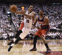 Toronto Raptors' DeMar DeRozan (10) drives past Washington Wizards' Paul Pierce (34) during NBA playoff action in Toronto on Saturday, April 18, 2015. Raptors' Greivis Vasquez had one last thing to say about Pierce: Stop talking about him. THE CANADIAN PRESS/Frank Gunn