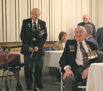 April 8, 2015 - Edwin Bass (left) and former Transcona mayor Paul Martin (right) received the French Legion of Honour medal, the highest commendation in France, at a ceremony held at the Royal Canadian Legion, Transcona Branch. (SHELDON BIRNIE/CANSTAR COMMUNITY NEWS/THE HERALD)