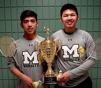 Maples badminton duo Rich Del Mundo (left) and Mikko Syfu were recently named Tire Recycle Urban High School Athletes of the Week.
