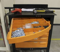 A tool cabinet with swivel drawers, produced by company Swivel Storage Solutions, headquartered in Arborg.