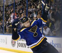 St. Louis Blues defenseman Kevin Shattenkirk reacts after scoring the decisive goal in a shootout during a game between the St. Louis Blues and the Nashville Predators on Thursday, Jan. 29, 2015, at the Scottrade Center in St. Louis. (AP Photo/St. Louis Post-Dispatch, Chris Lee)
