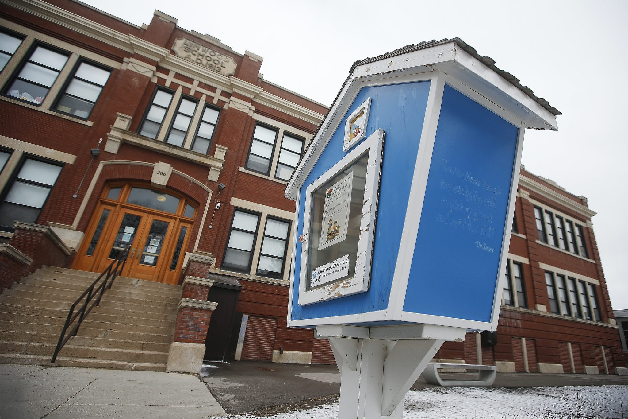 A Little Free Library outside Linwood School in St. James-Assiniboia School Division.