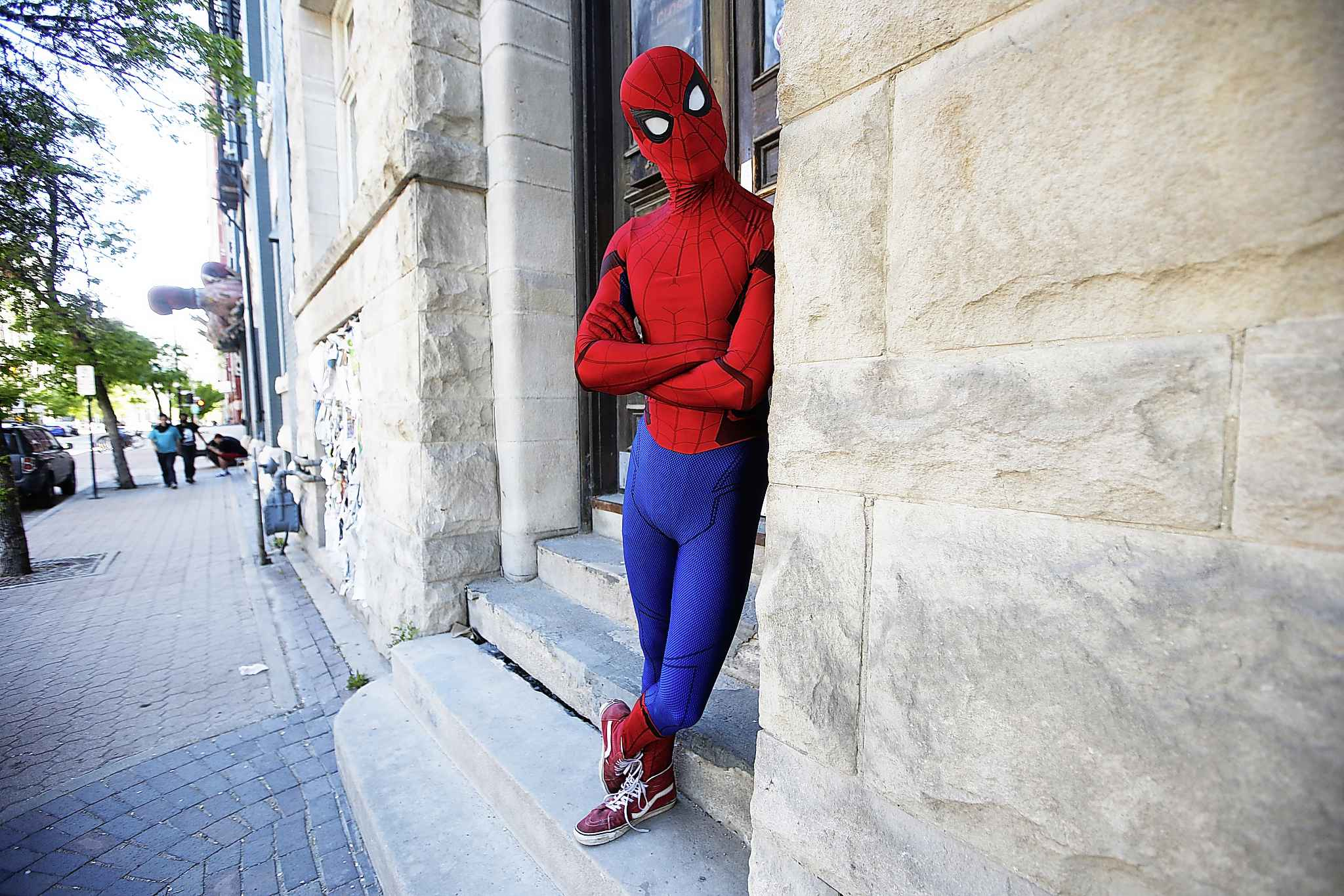 JOHN WOODS / WINNIPEG FREE PRESS</p><p>It started as a lark, but now he makes his rounds as Spider-Man. Sorry J. Jonah Jameson, we're not revealing his identity for Daily Bugle readers.</p></p>