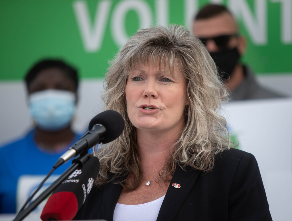 """Manitoba Progressive Conservative leadership candidate Shelly Glover spoke against """"mandated vaccines"""" but later announced she is fine with the current provincial policy, because it offers the exemption for people who get regularly tested."""