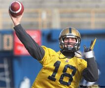 Winnipeg Blue Bombers quarterback Justin Goltz throws a ball at practice at Canad Inns Stadium Thursday morning. The Winnipeg Blue Bombers face the Calgary Stampeders today on the Stamps' home ground.