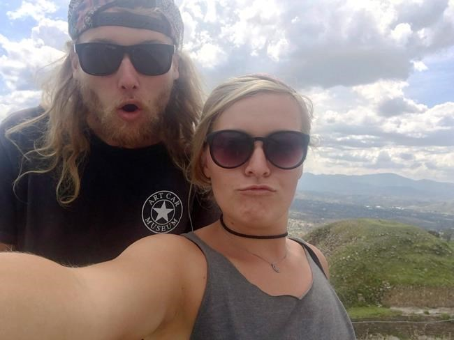 In this undated photo provided by the Deese family of Chynna Deese, 23-year-old Australian Lucas Fowler, left, and his 24-year-old American girlfriend Chynna Deese pose for a selfie. THE CANADIAN PRESS/AP-Deese Family via AP