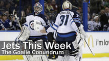 Winnipeg Jets goalie Al Montoya (35) replaces Ondrej Pavelec (31) during the second period of an NHL hockey game against the Tampa Bay Lightning on Friday, Feb. 1, 2013, in Tampa, Fla. (AP Photo/Chris O'Meara)