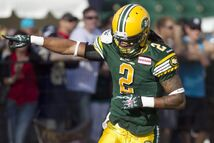 The Eskimos' Fred Stamps celebrates a first-half TD against the Bombers in Edmonton Saturday night.