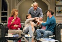 Eric Blais as Billy (from right), John Bourgeois as Billy Sr., Daria Puttaert as Jane and Maria Ricossa as Alice in RMTC's Clever Little Lies.