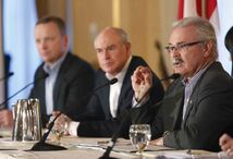 From right: Agriculture Minister Gerry Ritz, Ian White of the Canadian Wheat Board and Karl Gerrand, president and CEO of G3 speak in Winnipeg Wednesday on the commercialization process for the CWB.