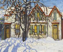 Houses on Gerrard Street, shown in this handout image, by Group of Seven's Lawren Harris reached a staggering $1,121,000, more than doubling its high-end estimate at Heffel Fine Art Auction House sale on Thursday. THE CANADIAN PRESS/HO