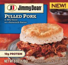 This photo provided by Hillshire Brands shows the packaging for a Jimmy Dean Pulled Pork sandwich. Jimmy Dean, the breakfast sausage brand started by the late country singer of the same name, is hoping its new bowls and sandwiches can lure eaters at other meals. (AP Photo/Hillshire Brands)