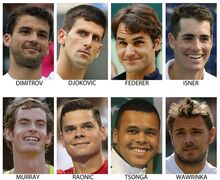 FILE - These are 2014, file photos, showing some of the top men's players expected to play at the 2014 U.S. Open tennis tournament. Top row from left are: Grigor Dimitrov, Novak Djokovic, Roger Federer and John Isner. Bottom from left are: Andy Murray, Milos Raonic, Jo-Wilfried Tsonga and Stan Wawrinka. (AP Photo/File)