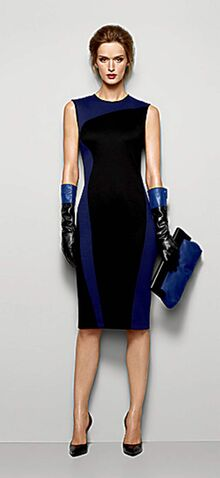 Black and blue sheath, $185; black and blue opera gloves, $110; cobalt clutch, $55.