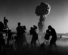 Handout photo showing a camera crew filmng at the U.S. Military Operation Priscilla, taken at the moment of the shockwave arrival at the Nevada test site in 1957. The Art Gallery of Ontario says its exhibition '��Camera Atomica'�� will explore the role that photography has played in shaping the public's perspective of atomic energy and weapons. THE CANADIAN PRESS/HO-Art Gallery of Ontario
