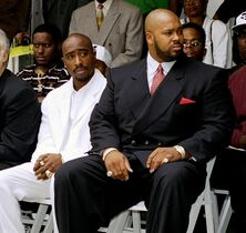 FILE - In this Aug. 15, 1996, file photo, rapper Tupac Shakur, left, and a founder of Death Row Records, Marion
