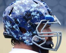 Winnipeg Blue Bomber Glenn January wears the new Signature Uniform helmet by Reebok unveiled at practice today at Investors Group Field. The Bombers plan to unveil the new uniforms Tuesday.