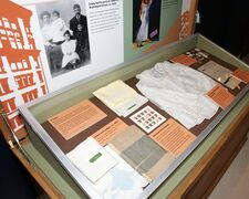 In this Dec. 7, 2012 photo provided by Derrica Hamilton is an exhibit at the Arab American National Museum in Dearborn, Mich. The museum is sending its exhibition about one of the earliest Arab-American settlements to Ellis Island. The exhibit, titled
