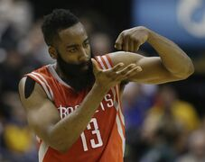 Houston Rockets' James Harden (13) reacts after hitting a basket during the second half of an NBA basketball game against the Indiana Pacers, Monday, March 23, 2015, in Indianapolis. Houston won 110-100. (AP Photo/Darron Cummings)
