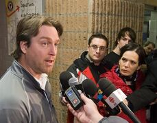 Quebec Remparts coach Patrick Roy talks to media Monday, January 18, 2010 at the Quebec Colisee in Quebec City. Roy is reportedly on the verge of being the next head coach of the Colorado Avalanche. THE CANADIAN PRESS/Clement Allard