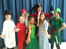 Cast members of Highbury School's production of Disney's Peter Pan JR., pictured from left to right: Makenna Martin, Paige Gregory, Kirstin Warkentin, Hanna Pankratz, Tyler Kavitch, Kailyn Rice and Erika Peter.