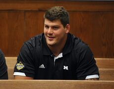 Tennessee Titans rookie NFL football player Taylor Lewan sits in Washtenaw County District Court in Ann Arbor, Mich., where he plead guilty to two misdemeanors to resolve an assualt case involving an Ohio State fan, Thursday, Oct. 30, 2014. (AP Photo/The Detroit News, Charles V. Tines) DETROIT FREE PRESS OUT. HUFFINGTON POST OUT