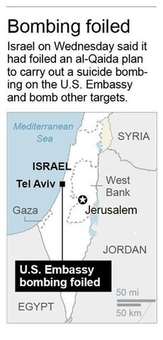 Map locates U.S. Embassy in Tel Aviv, Israel.; 1c x 3 inches; 46.5 mm x 76 mm;