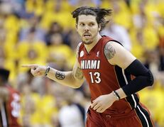 FILE - In this June 1, 2013, file photo, Miami Heat shooting guard Mike Miller reacts to play against the Indiana Pacers during the second half of Game 6 of the NBA Eastern Conference basketball finals in Indianapolis. A guilty plea is expected in the case of Haider Zafar, charged with a multimillion-dollar investment scam involving Miller and two former Miami Heat players. (AP Photo/Michael Conroy, File)