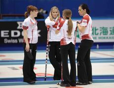 From left: Dawn McEwen, Jennifer Jones, Kaitlyn Lawes and Jill Officer in Sapporo, Japan.