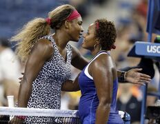 Serena Williams, of the United States, is congratulated by Taylor Townsend, of the United States, after Williams defeated Townsend 6-3, 6-1 in the first round of the U.S. Open tennis tournament Tuesday, Aug. 26, 2014, in New York. (AP Photo/Darron Cummings)