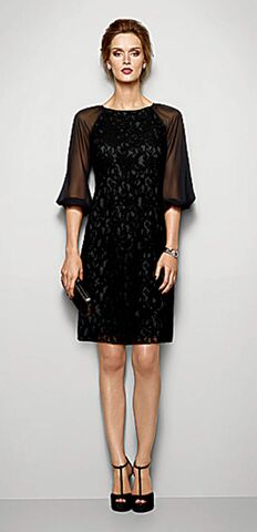 Lace dress with chiffon sleeves, $195; clutch, $50; twisted rope cuff bracelet, $24.