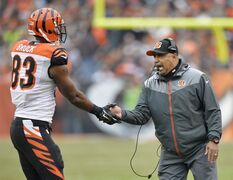 Cincinnati Bengals head coach Marvin Lewis celebrates with tight end Kevin Brock (83) after a touchdown against the Cleveland Browns in the second quarter of an NFL football game, Sunday, Dec. 14, 2014, in Cleveland. (AP Photo/David Richard)