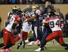 Calgary Stampeders' Deron Mayo (42) gets a hand on Winnipeg Blue Bombers quarterback Brian Brohm (12) as he attempts to throw during the first half of CFL action in Winnipeg on Saturday.