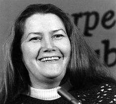 FILE - In this March 1, 1977 file photo, Australian author Colleen McCullough laughs during a news conference in New York. Best-selling author McCullough, whose novel