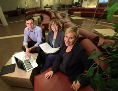 Faith Kaplan, right, along with MBA classmates Brad Tole and Katherine Cumming are looking into ways to deliver kosher meats to Jewish consumers in Manitoba.