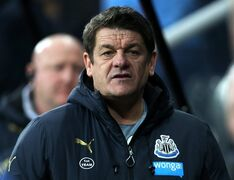 FILE - In this Thursday, Jan. 1, 2015 file photo, Newcastle United's assistant manager John Carver awaits the start of their English Premier League soccer match between Newcastle United and Burnley at St James' Park, Newcastle, England. John Carver's control of the dressing room has been gradually eroding since he took temporary charge of the team in January. It reached a nadir on Saturday, May 2, 2015 after an eighth successive loss when he accused one of his own players — Mike Williamson — of getting sent off on purpose in the 3-0 surrender at Leicester. (AP Photo/Scott Heppell, File)