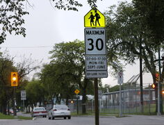 Speeds around Winnipeg's 171 elementary schools will be reduced to 30 km/h starting Monday. The fine is a steep $310 for going the usual posted limit of 50 km/h.