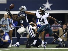 Dallas Cowboys wide receiver Dez Bryant (88) reaches out to grab a pass in front of Philadelphia Eagles' Bradley Fletcher (24) during the first half of an NFL football game, Thursday, Nov. 27, 2014, in Arlington, Texas. (AP Photo/Tim Sharp)