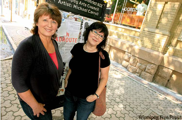 Organizers Karen Schulz (left) and Sue Gordon hope to see crowded streets on First Fridays.